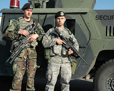Humvee With Security Team